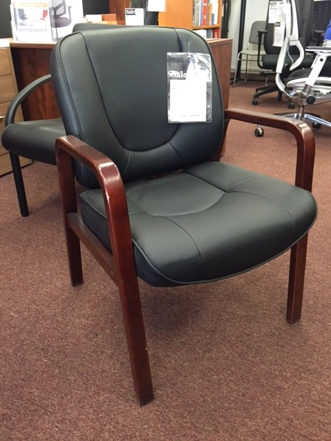otg leather guest chair black leather cordovan wood frame andy