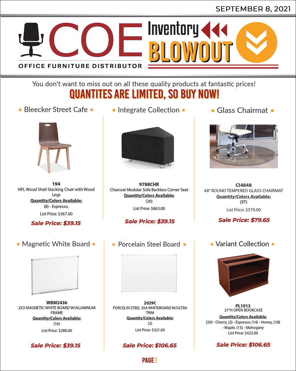 Blowout Sale 9-8-21 Andy Stern's